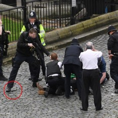 NOTE ALTERNATE CROP  A policeman points a gun at a man on the floor as emergency services attend the scene outside the Palace of Westminster, London, after policeman has been stabbed and his apparent attacker shot by officers in a major security incident at the Houses of Parliament. PRESS ASSOCIATION Photo. Picture date: Wednesday March 22, 2017. See PA story POLICE Westminster. Photo credit should read: Stefan Rousseau/PA Wire